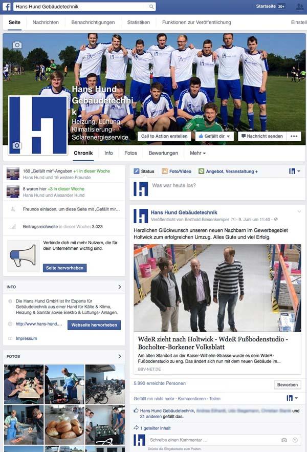 Hans Hund GmbH Facebookpräsenz