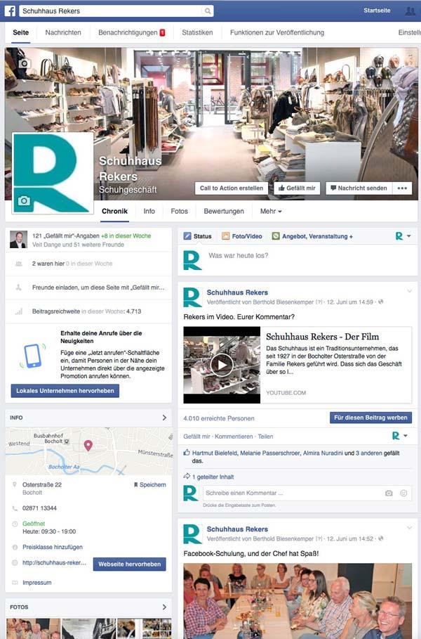 Schuhhaus Rekers Facebookpräsenz