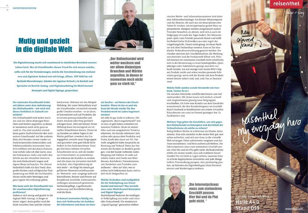 Interview top fair Messemagazin der Messe Frankfurt mit Berthold Blesenkemper
